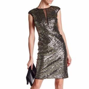 NWT Nicole Miller Sequin Illusion Dress